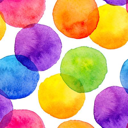 Bright rainbow colors watercolor painted circles seamless pattern Ilustração