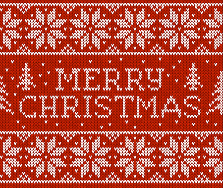 chrismas background: Red knitted seamless pattern with sign Merry Christmas