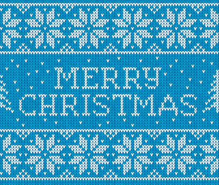 cristmas card: Blue knitted seamless pattern with sign Merry Christmas