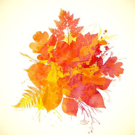 Watercolor painted autumn leaves vector banner