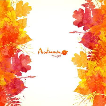 Watercolor painted autumn leaves vector background Vettoriali