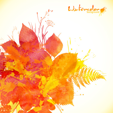 Watercolor painted autumn leaves vector background Vetores