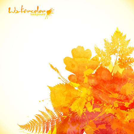 grunge tree: Watercolor painted autumn leaves vector background Illustration
