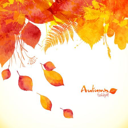 Watercolor painted autumn leaves vector background Ilustração