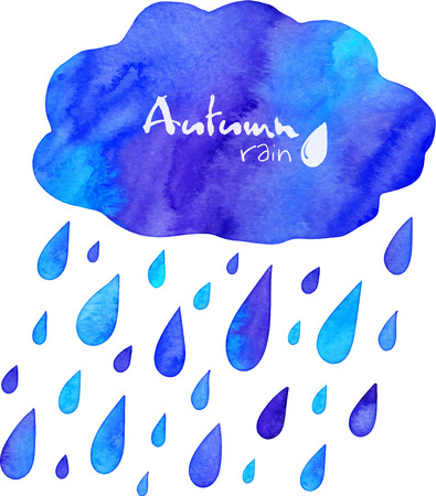 rainwater: Watercolor painted autumn rain with cloud