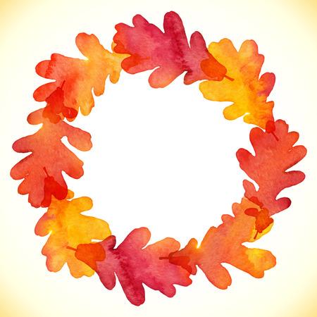 oak wreath: Watercolor painted oak leaves round frame