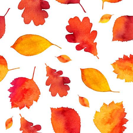 Orange watercolor painted autumn leaves seamless pattern Ilustração