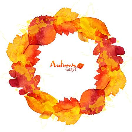 Watercolor painted oak leaves wreath