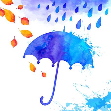 Bleu aquarelle peinte parapluie sous la pluie