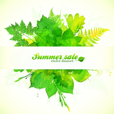 paper banner: Watercolor painted summer foliage with paper banner Illustration