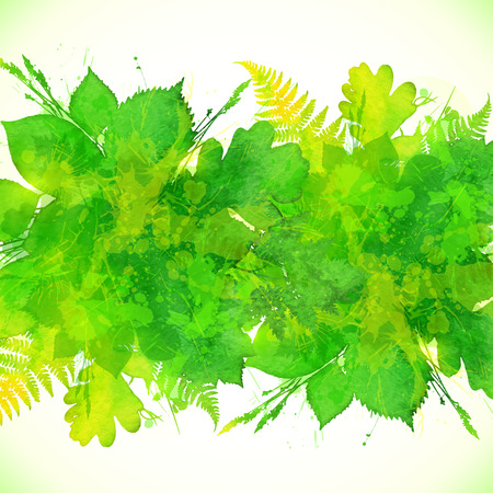 Green summer foliage vector background Vector