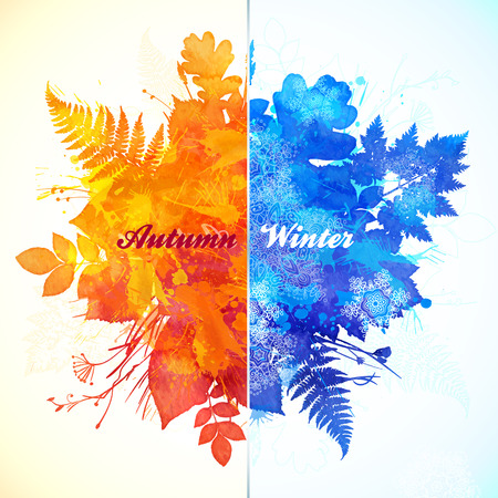 fall winter: Autumn - winter season watercolor vector illustration Illustration