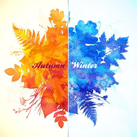 Autumn - winter season watercolor vector illustration Stock Illustratie