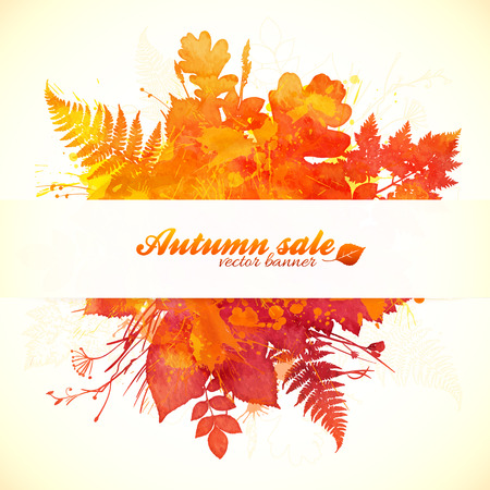 Watercolor painted autumn leaves with white paper banner