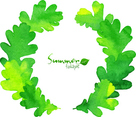 oak leaves: Green watercolor oak leaves wreath Illustration
