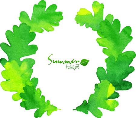 oak wreath: Green watercolor oak leaves wreath Illustration