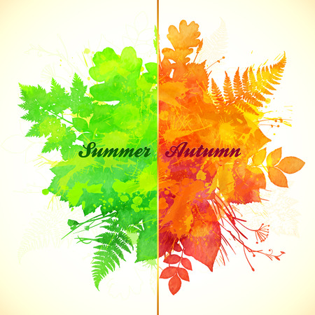 transition: Summer and autumn foliage season banner