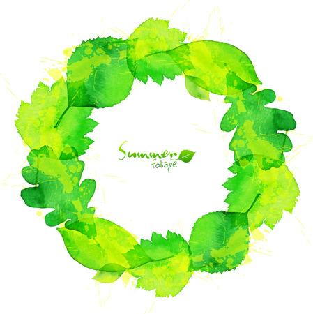 Green watercolor summer leaves wreath Vector