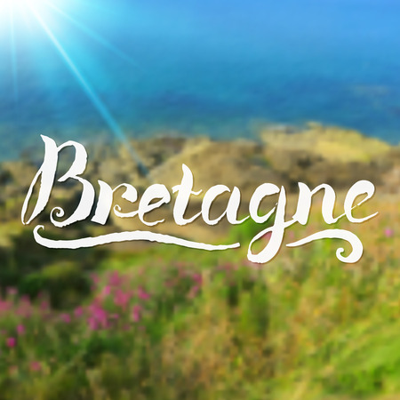 breton: Brittany summer background with hand-drawn calligraphy sign Illustration
