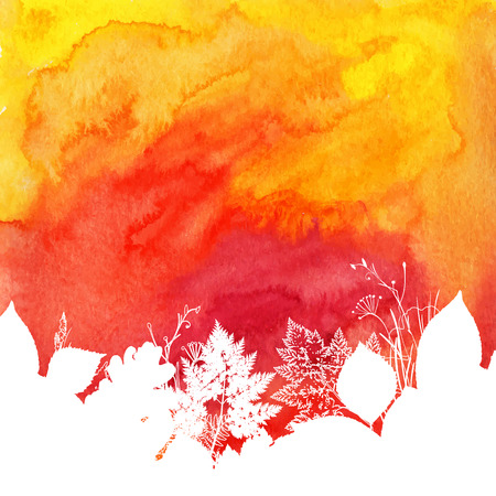 aquarelle: Orange watercolor autumn background with white leaves silhouettes Illustration