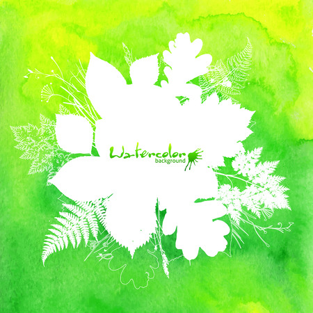Green watercolor background with white leaves silhouettes Vector