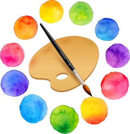 Acquerello dipinto di colori arcobaleno cerchi con pennello e tavolozza in legno Vettoriali