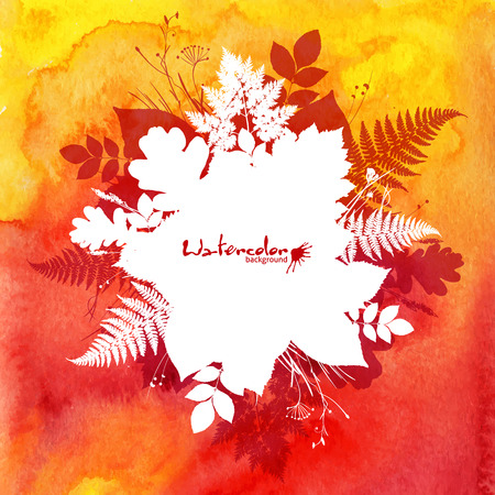 Orange watercolor background with white leaves silhouettes Vector