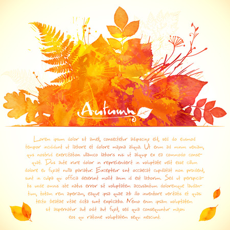 autumn leaves: Orange watercolor painted leaves greeting card template