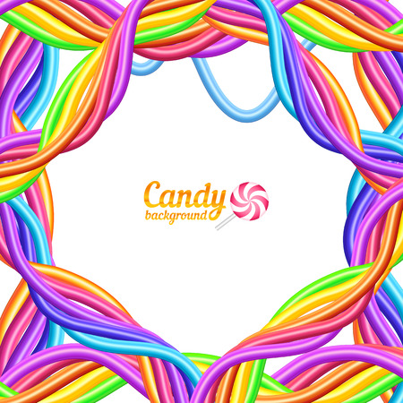 liquorice: Rainbow colors candy ropes vector background Illustration