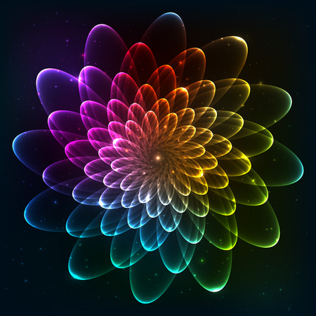 Rainbow colors vector cosmic flower