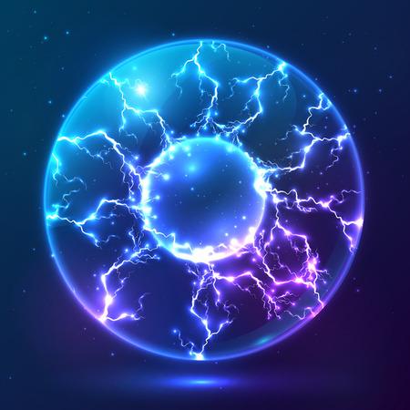Blauwe glanzende vector plasma-bal Stock Illustratie