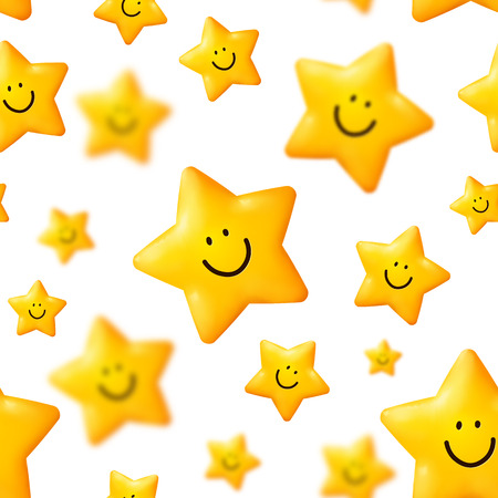 maquillaje infantil: Estrellas amarillas felices Modelo incons�til del vector Vectores
