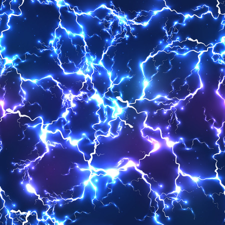 Abstract blue electric lightning seamless pattern