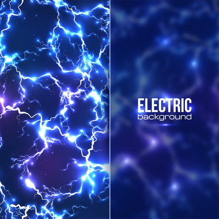 thunder storm: Electric background with plastic transparent banner Illustration