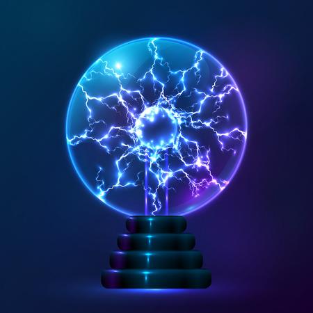 Blue vector plasma ball lamp