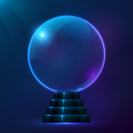 fortune teller: Blue vector magic spiritual ball