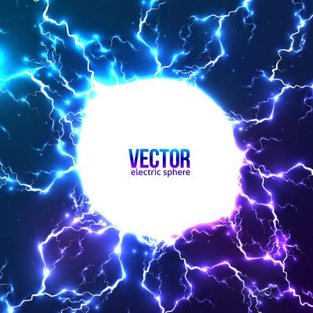 rayo electrico: Luminoso rayos eléctricos marco del círculo blanco