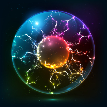 fireballs: Rainbow fire vector plasma ball Illustration