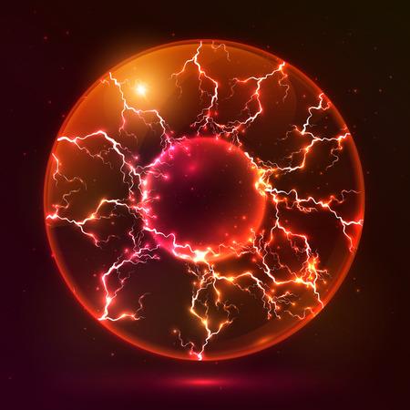 ball lightning: Red fire vector plasma ball Illustration