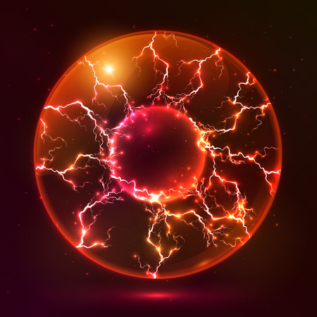 Red fire vector plasma ball Illustration
