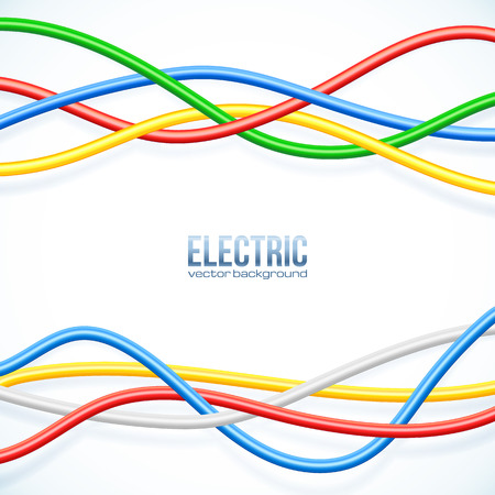 ethernet cable: Vector hanging colored cables vector background Illustration