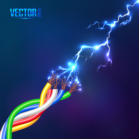 discharge: Electric lightning flash to colored cables