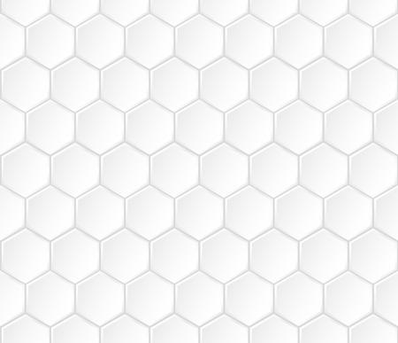Geometric white hexagonal vector seamless pattern