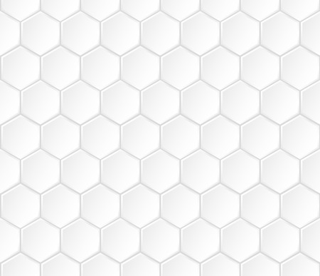 Geometric white hexagonal vector seamless pattern