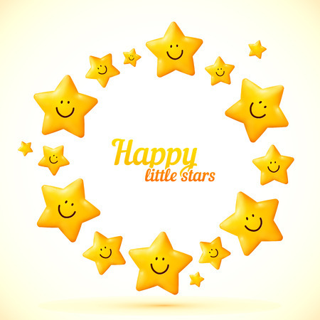 cartoon stars: Cute little smiling stars vector frame