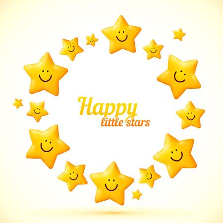 Cute little smiling stars vector frame
