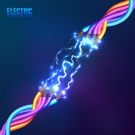 usb cable: Electric lightning between colored cables