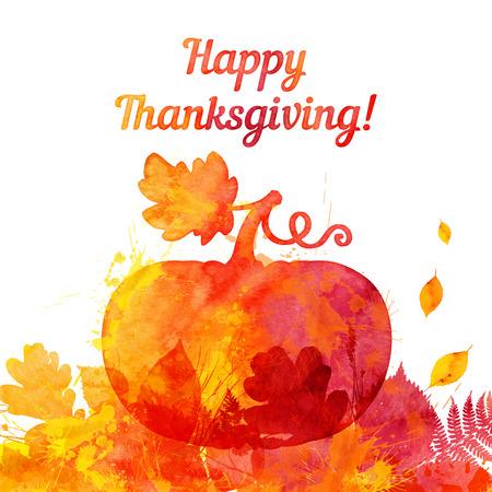 thanksgiving day symbol: Acquerello modello di biglietto di auguri thanksgiving zucca dipinta