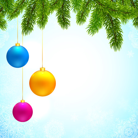 Christmas background with fir tree branches and colorful hanging balls Vector