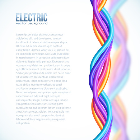electrical wires: Vibrant colors plastic twisted cables background